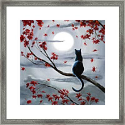 Black Cat In Silvery Moonlight Framed Print