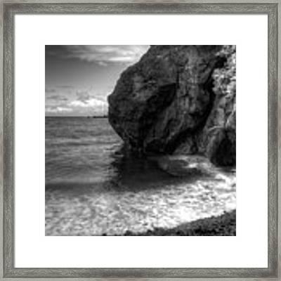Black Sand Beach Framed Print by Break The Silhouette