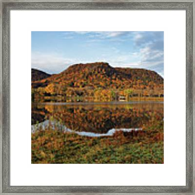Bluff Reflection And Shoreline Agree In Winona Minnesota Framed Print by Kari Yearous
