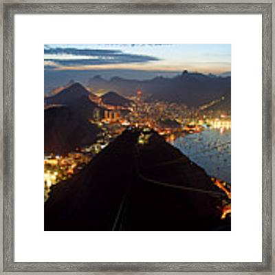 Brasil,rio De Janeiro,pao De Acucar,viewpoint,panoramic View,copacabana At Night Framed Print by Juergen Held