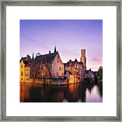 Bruges At Dusk Framed Print by Barry O Carroll