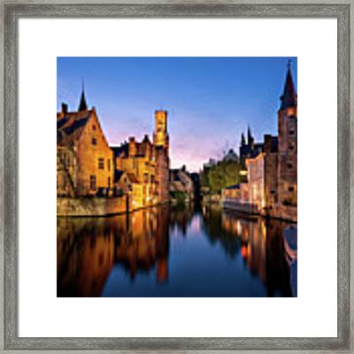 Bruges Canals At Blue Hour Framed Print by Barry O Carroll