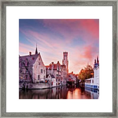 Bruges Sunset Framed Print by Barry O Carroll