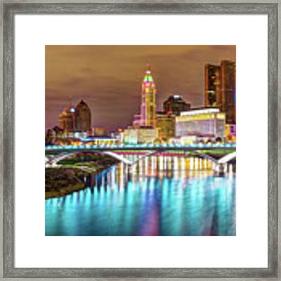 Buckeye Skyline - Columbus At Night On The Water Framed Print by Gregory Ballos