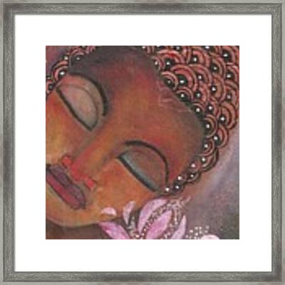 Buddha With Pink Lotus Framed Print by Prerna Poojara