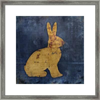 Bunny In Blue Framed Print by Carol Leigh