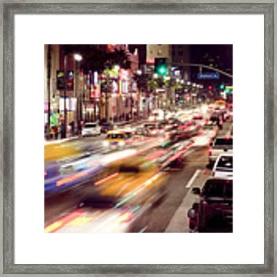 Busy Hollywood Boulevard At Night Framed Print by Bryan Mullennix