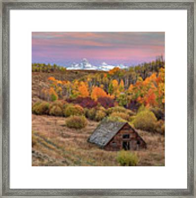 Cabin Under The Tetons Framed Print by Leland D Howard