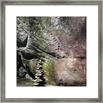 Cairn Rock Stack At Jones Gap State Park Framed Print by Kelly Hazel