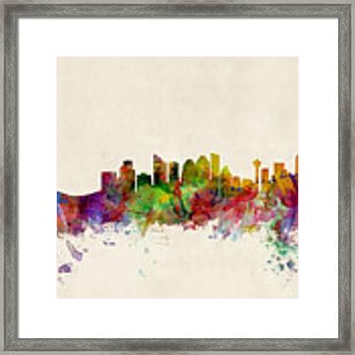 Calgary Skyline Framed Print by Michael Tompsett