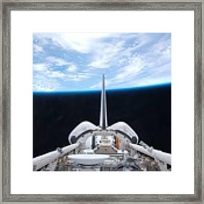 Cargo Bay Of Atlantis On Sts-132 Framed Print by Artistic Panda