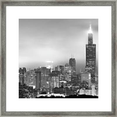 Chicago Skyline Black And White - Illinois - Usa Framed Print by Gregory Ballos