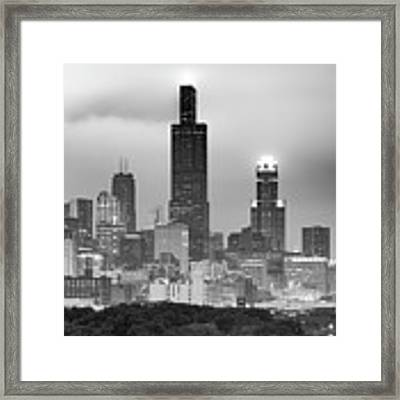 City Of Chicago Skyline Black And White Framed Print by Gregory Ballos