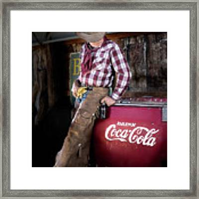 Classic Coca-cola Cowboy Framed Print by James Sage
