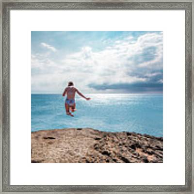 Cliff Jumping Framed Print by Break The Silhouette