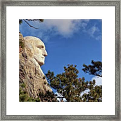 Closeup Profile Of George Washington At Mount Rushmore National Memorial In South Dakota Framed Print by Sam Antonio Photography