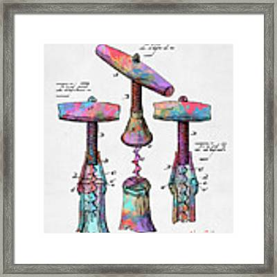 Colorful 1883 Wine Corckscrew Patent Framed Print by Nikki Marie Smith
