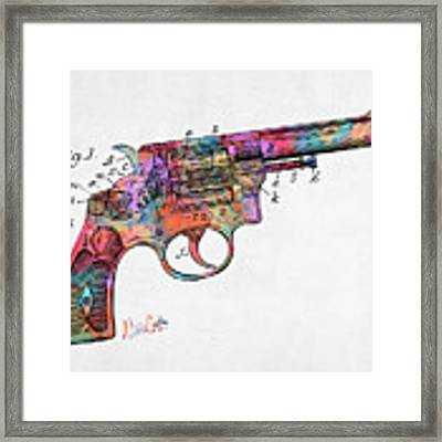 Colorful 1896 Wesson Revolver Patent Framed Print by Nikki Marie Smith