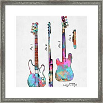 Colorful 1953 Fender Bass Guitar Patent Artwork Framed Print by Nikki Marie Smith