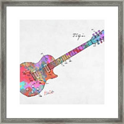 Colorful 1955 Mccarty Gibson Les Paul Guitar Patent Artwork Mini Framed Print by Nikki Marie Smith