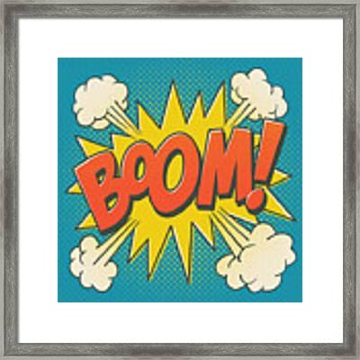 Comic Boom On Blue Framed Print by Mitch Frey