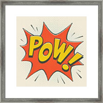 Comic Pow On Off White Framed Print by Mitch Frey