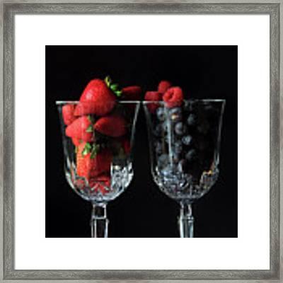 Cups Of Berries Framed Print by Angela Murdock