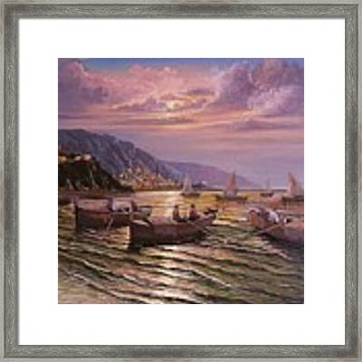 Day Ends On The Amalfi Coast Framed Print by Rosario Piazza