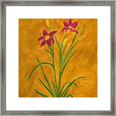Day Lilies #3 Framed Print by Linda Feinberg