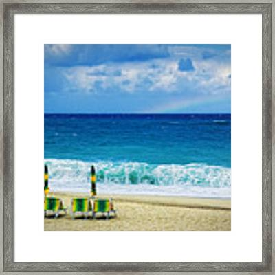 Deck Chairs And Distant Rainbow Framed Print by Silvia Ganora