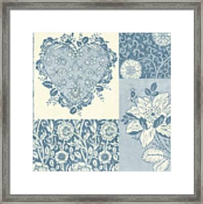 Deco Heart Blue Framed Print