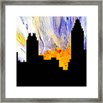 Decorative Abstract Skyline Atlanta T1115a1 Framed Print by Mas Art Studio