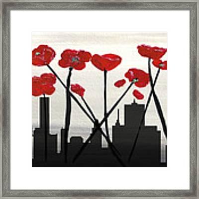 Decorative Skyline Abstract  Houston T1115v3 Framed Print by Mas Art Studio