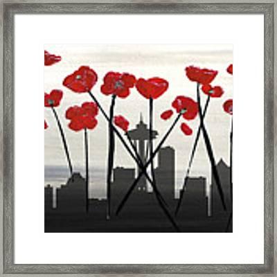 Decorative Skyline Abstract  Seattle T1115x1 Framed Print by Mas Art Studio