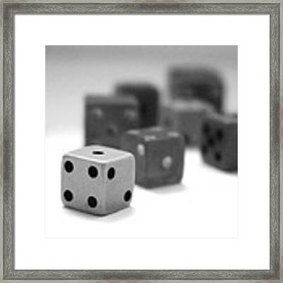 Dice 1- Black And White Photo By Linda Woods Framed Print by Linda Woods