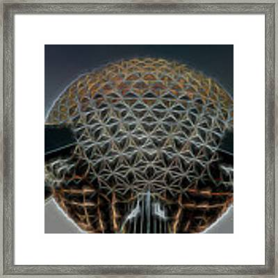 Disney Epcot Glowing At Night Framed Print by Ericamaxine Price