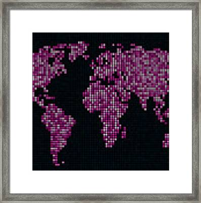 Dot Map Of The World - Pink Framed Print