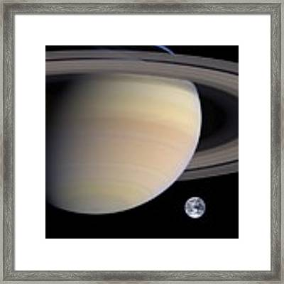 Earth From Sturn Framed Print by Artistic Panda