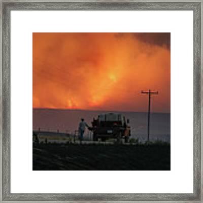 Sun Sets At Indian Canyon Fire Framed Print by Bill Gabbert