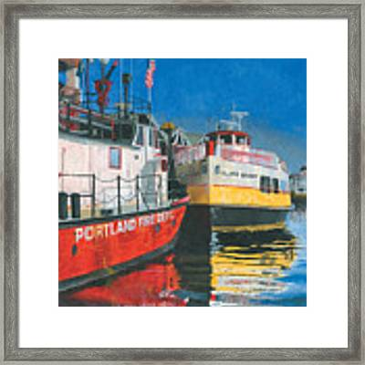 Fireboat And Ferries Framed Print by Dominic White