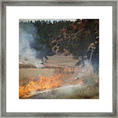 Firefighter Ignites The Pleasant Valley Prescribed Fire Framed Print by Bill Gabbert