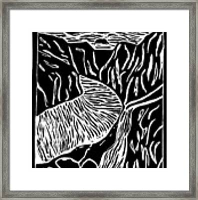 Fjord Norway - Limited Edition Linocut Print Framed Print by Sascha Meyer
