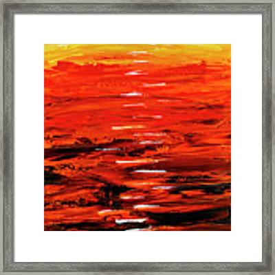 Flaming Sunset Abstract 205173 Framed Print by Mas Art Studio