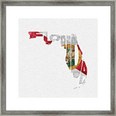 Florida Typographic Map Flag Framed Print