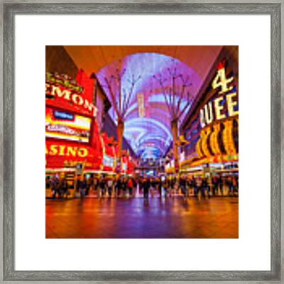 Fremont Street Experience At Night In Las Vegas Framed Print by Bryan Mullennix