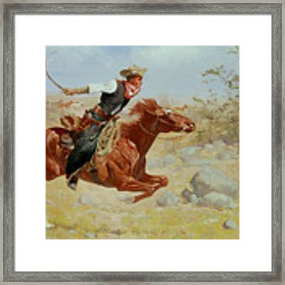 Galloping Horseman Framed Print by Frederic Remington