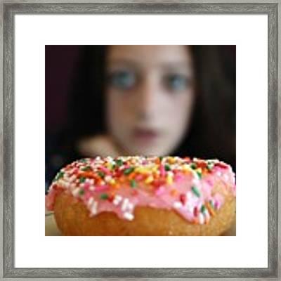 Girl With Doughnut Framed Print by Linda Woods