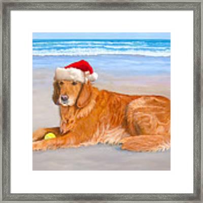 Golden Retreiver Holiday Card Framed Print by Karen Zuk Rosenblatt