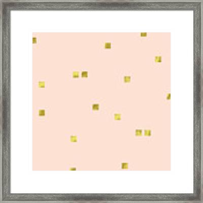 Golden Scattered Confetti Pattern, Baby Pink Background Framed Print