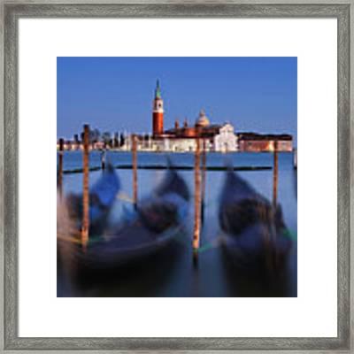 Gondolas And San Giorgio Maggiore At Night - Venice Framed Print by Barry O Carroll